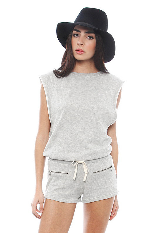 Pam & Gela Short Romper in Heather Grey www.singer22.com