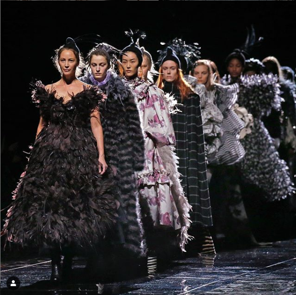 Feathers and ruffles at @marcjacobs. Image courtesy of @marcjacobs