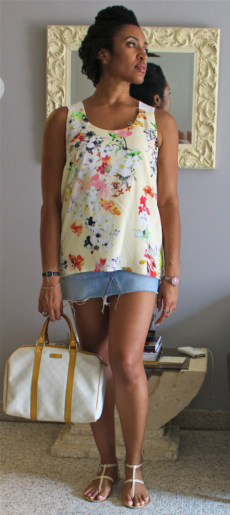Club Monaco Silk Tank, Levi's Cut off Skirt, Club Monaco Gold Flat Sandals.