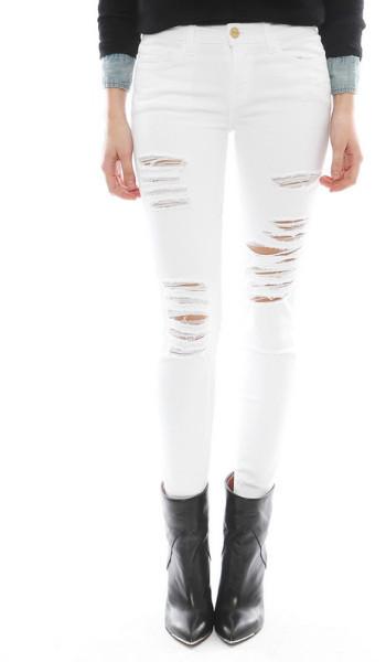 Frame Denim Le Color Ripped Jean in Blanc