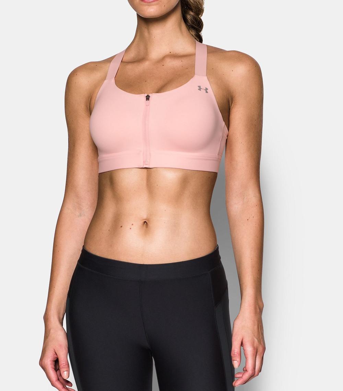 Women's Armour® Eclipse High — Zip Sports Bra, BALLET PINK, Front, BALLET PINK