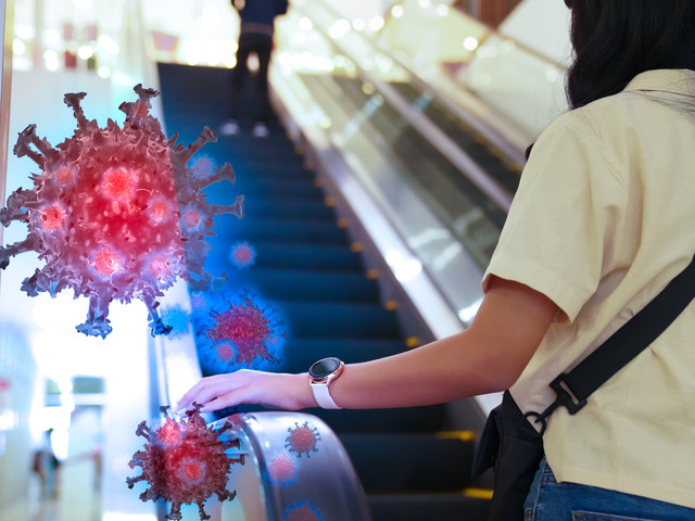 Shopping malls can treat surfaces that are often touched.