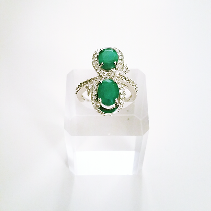 2 Stone Emerald Bypass Ring - Size 6 and 7