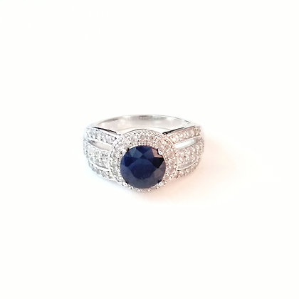 Classic Deep Blue Sapphire Ring - Size 9