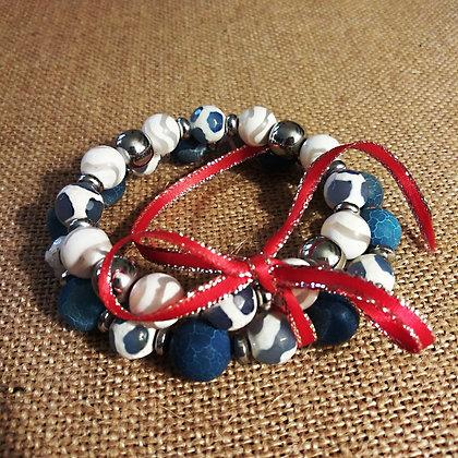 Blue and White Bracelet Set