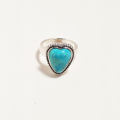 Turquoise Heart Ring - Size 8