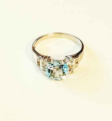 Ice Blue Topaz Ring - Size 10