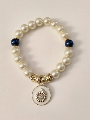 White and Gold Shell Charm Bracelet