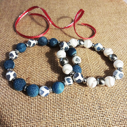 Blue and White Bracelet Set
