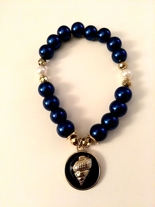 Blue and Gold Shell Charm Bracelet