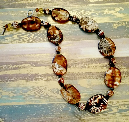 Animal Print Agate Gemstone Necklace