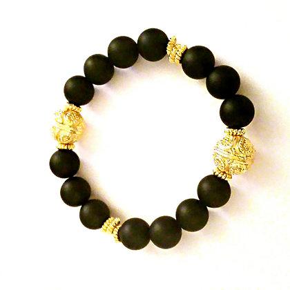 Onyx and Gold Bracelet