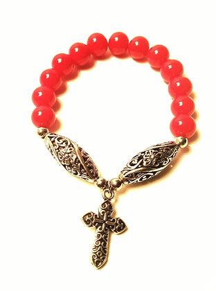Scroll Cross Charm Bracelet