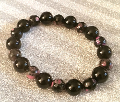 Black Onyx and Pink Agate Bracelet