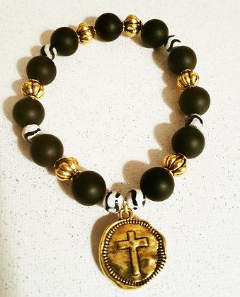 Gold Cross Medallion Bracelet