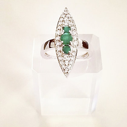 Edgy Emerald Ring - Size 7