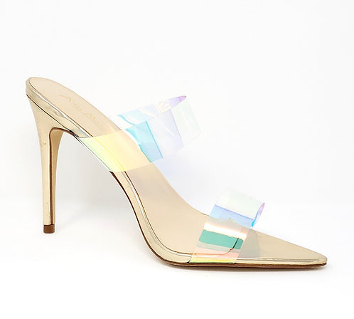 Strappy Holographic Mule Heels