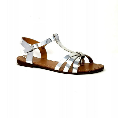 Silver Sunshine Flats Sandals By DV8 Shoes