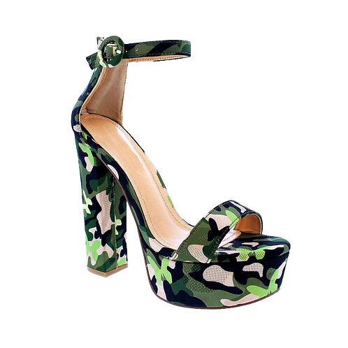 Lizzy Olive Camo High Heels By DV8 Shoes