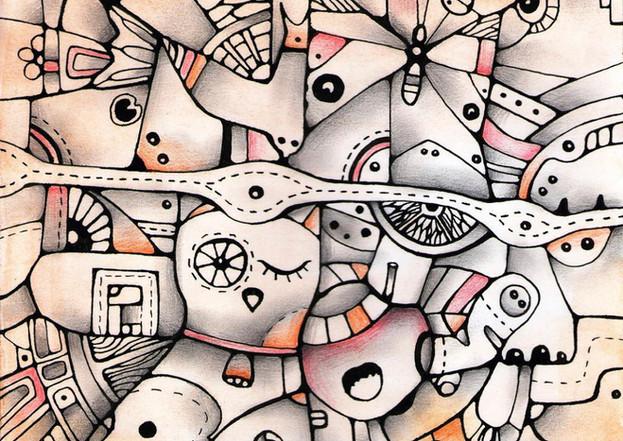 """Owl is watching"" -original watercolor painting by Yuliia Orlova"