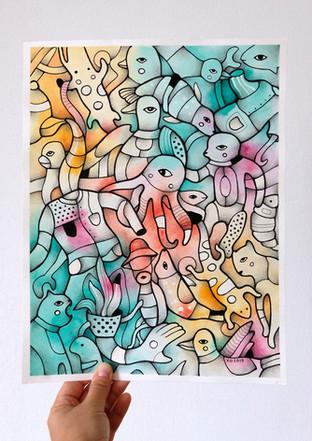 """Underwater world"" -original watercolor painting by Yuliia Orlova"