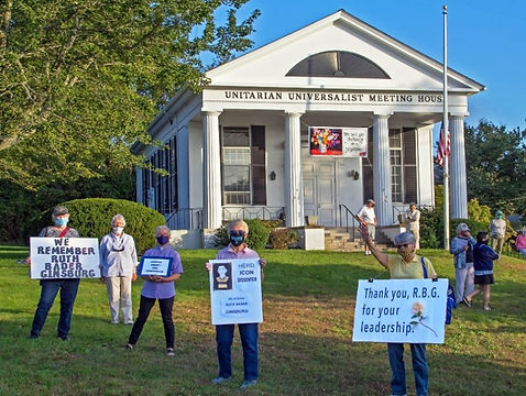 social justice demonstrators on the lawn of the meeting house