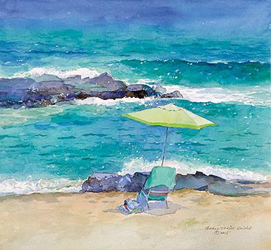 Green Umbrella By The Sea