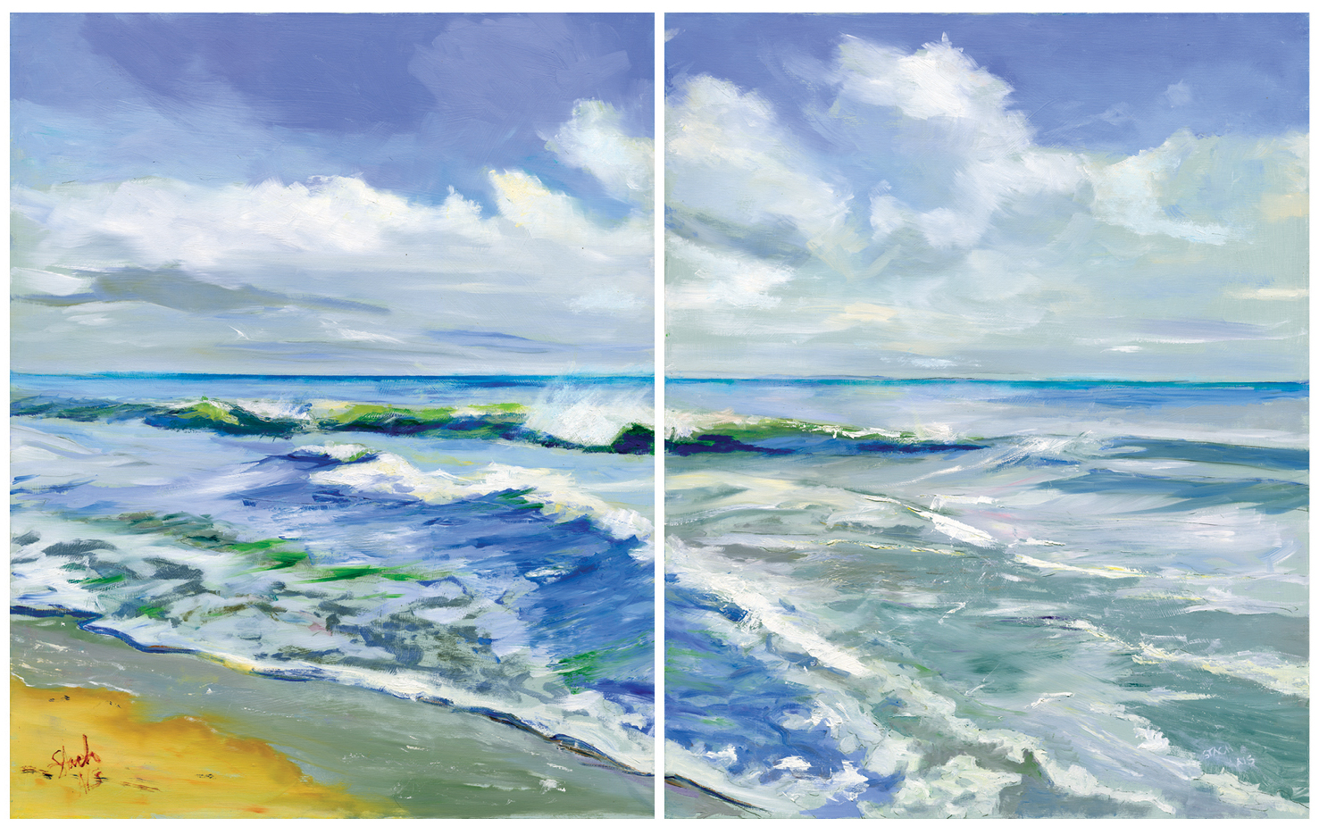 Morning Waves, diptych