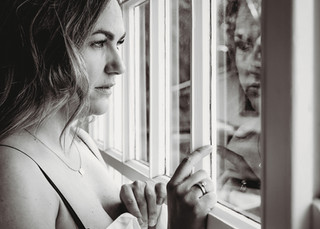 """<img src=""""women in mens shirt photo.jpg"""" alt=""""Women in mens shirt looking at her reflection in a window in black and white"""">"""
