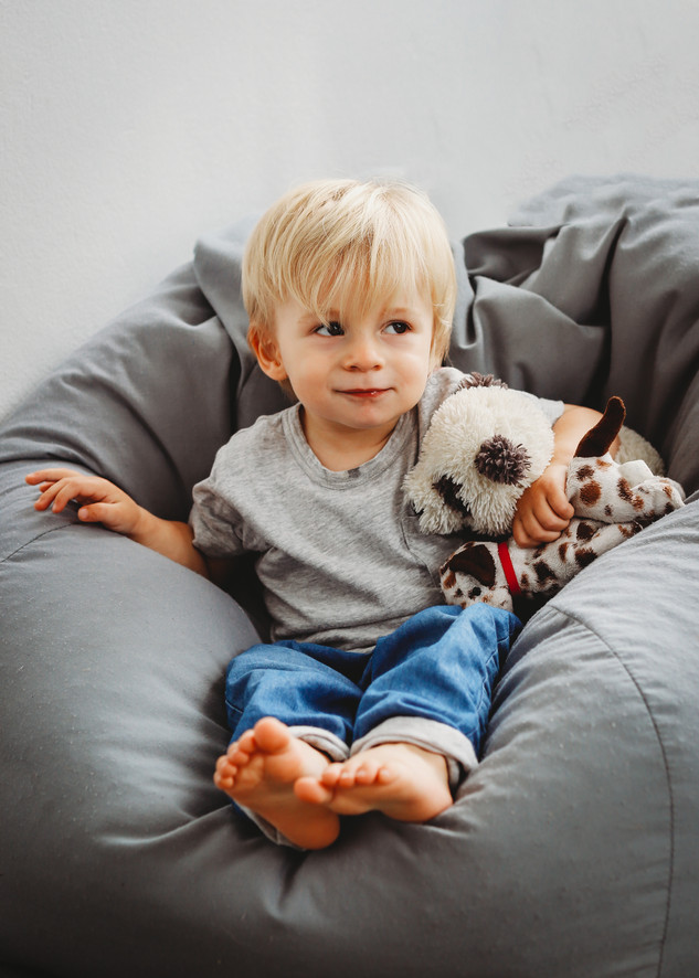 "<img src=""family photo.jpg"" alt=""Family photoshoot boy sitting on beanbag with cuddly toy"">"