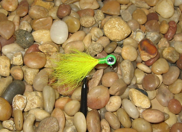 3 pack 1/16 yellow green kip tail jig on #4 bronze sickle