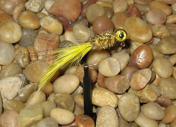 4 pack 1/16 or 1/8 banana gold hackle feather crappie jig #2 sickle hook