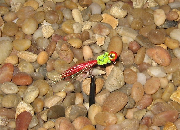 4 pack 1/16 or 1/8 red and chartreuse hackle feather crappie jig