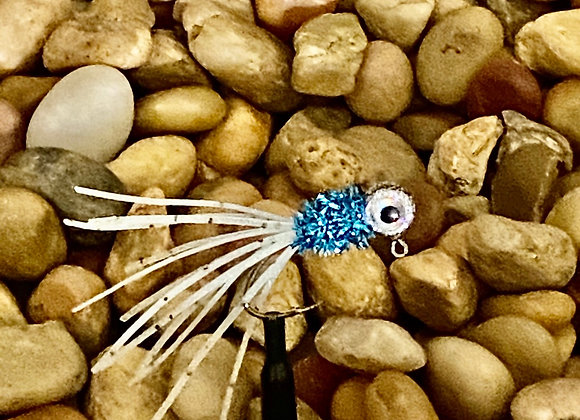 4 pack 1/16 - 1/8 white blue silver crazy glow legs crappie jig on sickle hooks