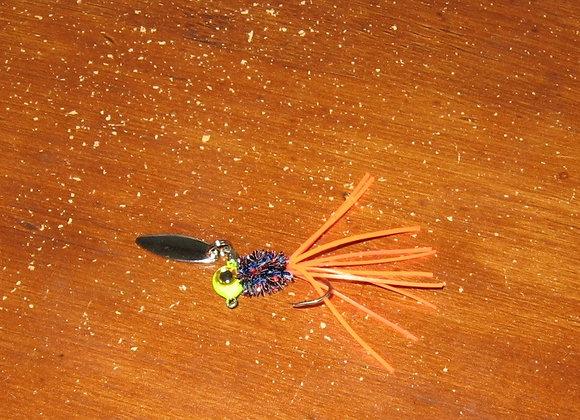 3 pack 1/16 -1/8 firetger crazy legs zuma spin jig on sickle hooks