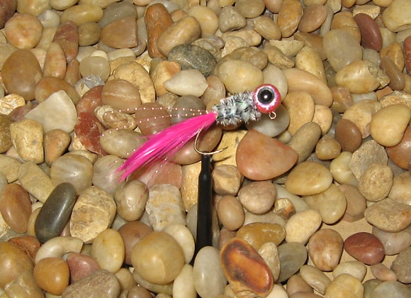 4 pack 1/16 pink shiner hackle feather crappie jig #4 sickle