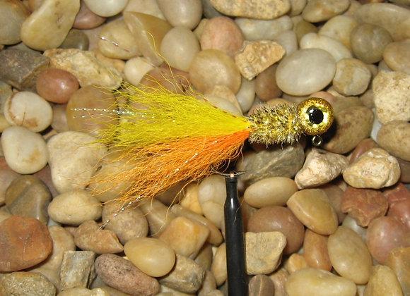 3 pack 1/16 -1/8 premium yellow orange gold kip tail crappie jigs #4 bronze sick