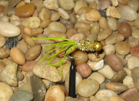 4 pack 1/16 chartreuse gold rush crazy legs crappie jig #4 bronze sickle hook