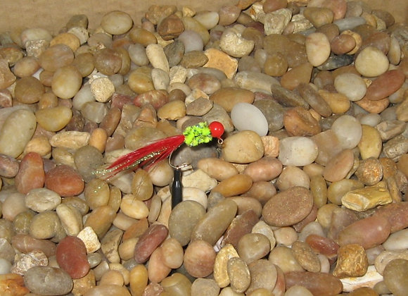 4 pack - 1/16 chartreuse and red hackle feather on #4 sickle hooks
