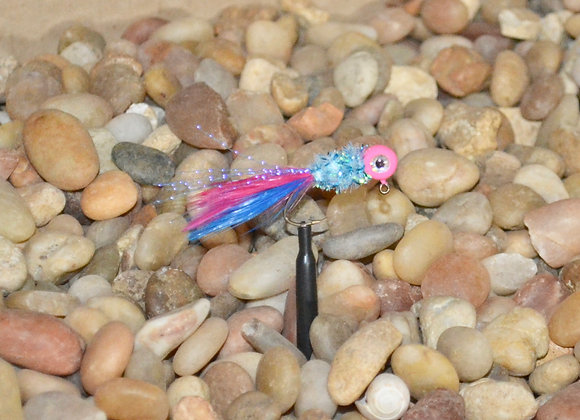 4 pack 1/16 pink and blue boys hackle feather crappie jig #4 sickle