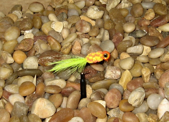 4 pack 1/16 orange charteuse clown hackle feather crappie jig