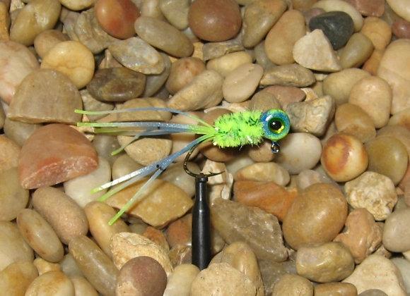 4 pack 1/16 chartreuse/blue mahi-mahi crazy legs crappie jigs #4 sickle