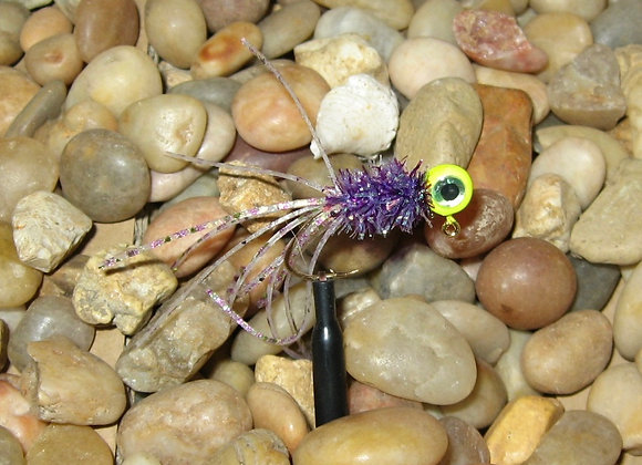 4 pack 1/16 - 1/8 yellow purple trout crazy legs crappie jig on sickle hooks
