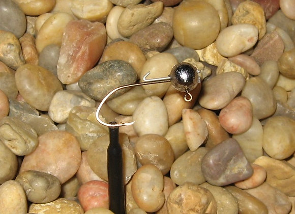 25 pack 1/8 ball heads with wire keepers on bronze sickle hook