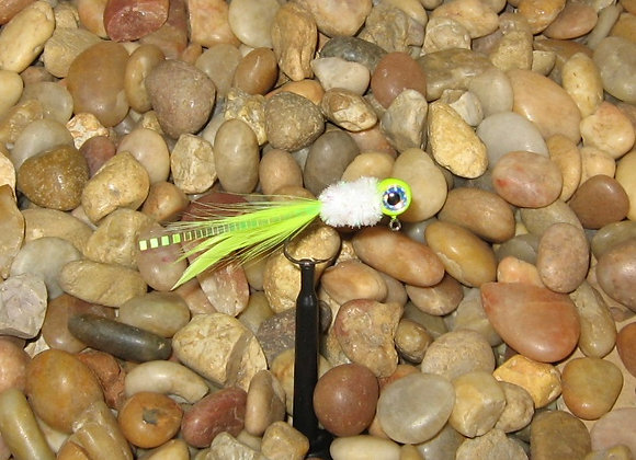 4 pack 1/16 chartreuse white pearl hackle feather crappie jig #4 sickle