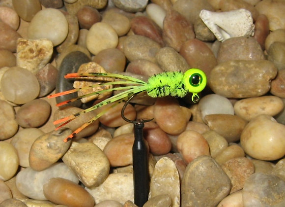 4 pack 1/16 firetiger/chartreuse crazy legs crappie jigs on hooks of your choice
