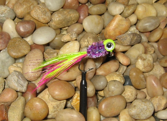 4 pack 1/16 hot popsickle hackle feather crappie jig #4 sickle