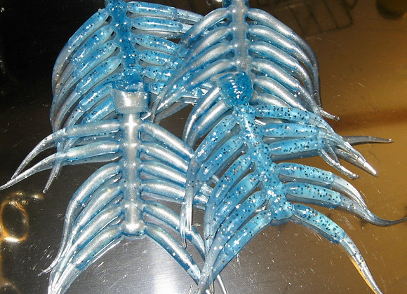 """12 pack of blue icy pearl 1.75 or 2.5"""" minnow fry plastic crappie jigs"""