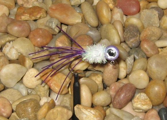 4 pack 1/16 purple white crazy legs crappie jig #4 bronze sickle hook