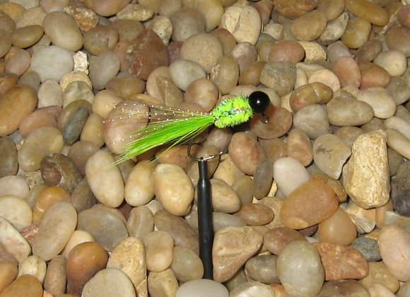 4 pack - 1/16 green chartreuse black hackle feather on #4 sickle hooks